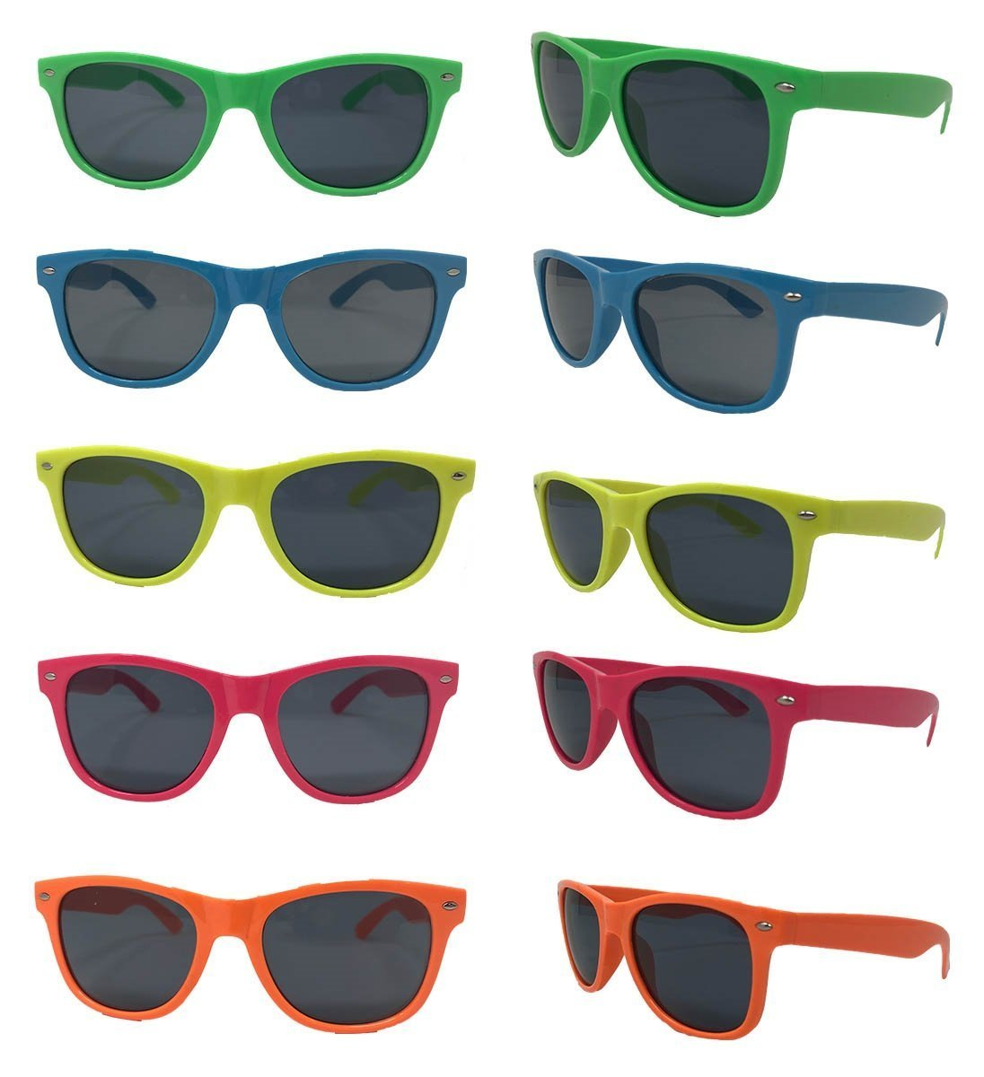Neon Sunglasses (Pack 30) Assorted Cool Colors Wayfarer Neon Sunglasses Party Favors Party Pack Wholesale Bulk for Adults Kids Better Quality