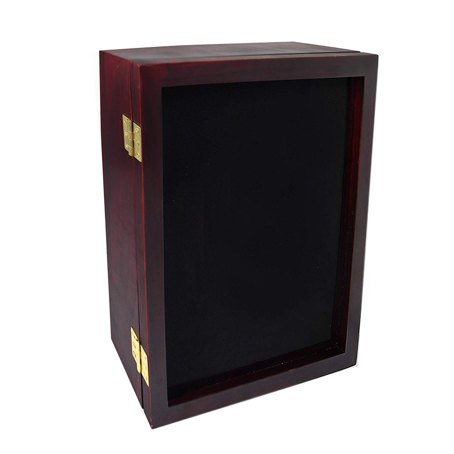 ForeverFrames - 12x15x2 Shadow Box Display Case   Magnetically Opens and Closes like a Door - Real Wood, Strong Glass, Linen Background   Cherry Red   For Wall and Desktop. Protect Important Memories by Forever Frames