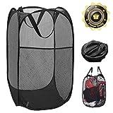 Pop-up Laundry Hamper Laundry Basket Bag with Side Pocket Mesh Clothes Handles Home Organize and Storage Sorter (Black)