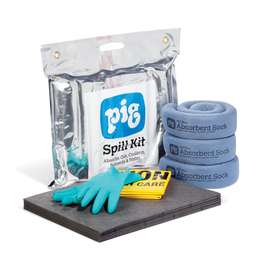 New Pig Spill Pack, Spill Clean Up, 4-Gallon Absorbency, Absorb Oil, Coolant, Solvent & Water Spills, KIT261