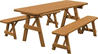 product image for Pressure Treated Pine 5 Foot Picnic Table with Detached Benches- Oak Stain