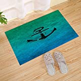 Nautical Steel Chain Antique Wood Board Buoy Nautical Anchor Small Door Mat, Black Green, Front Door Mat Absorbs Muddy Shoes, Pet Paws, Wet Feet
