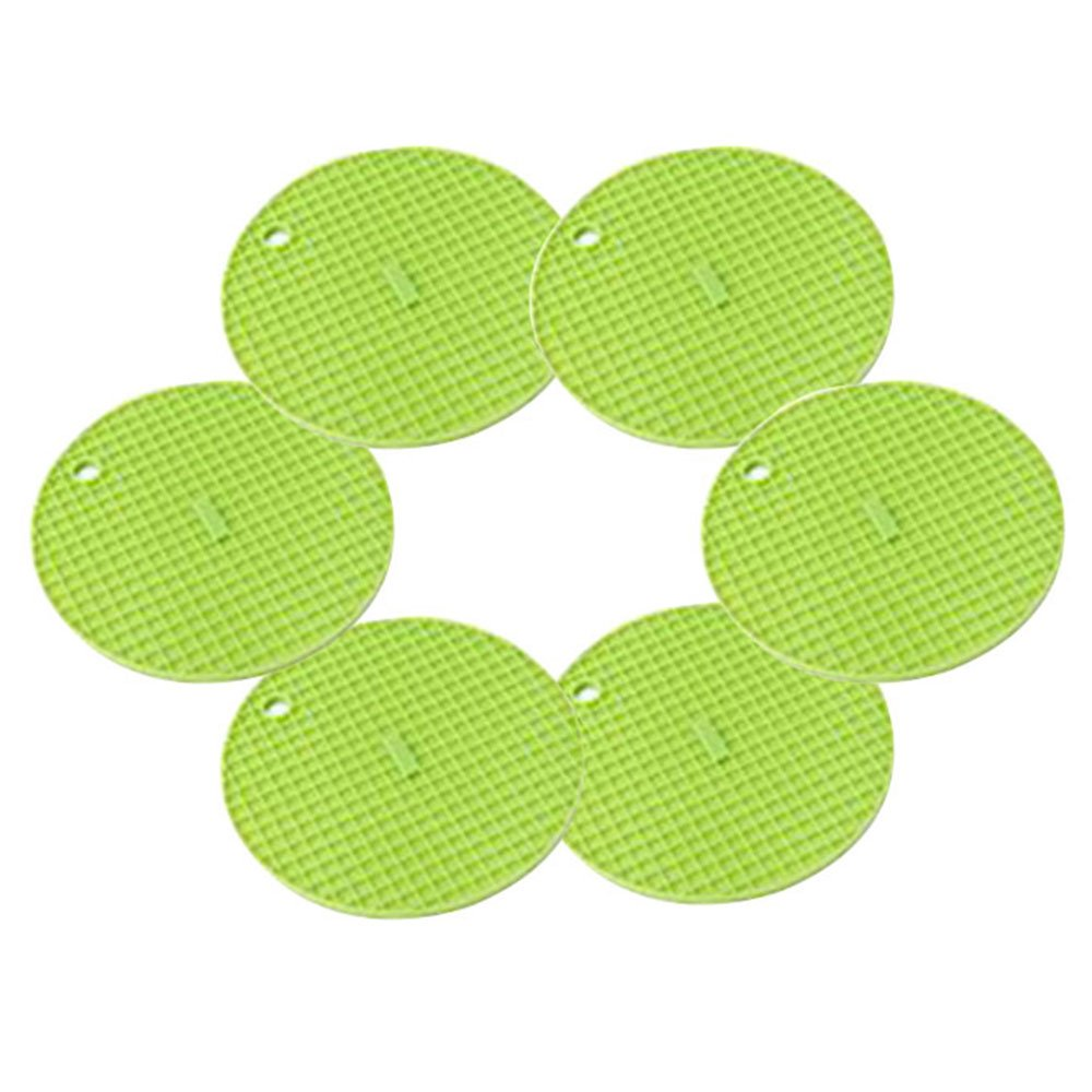 QELEG Silicone Trivets Smithcraft Round Mat Set of 6, 6x 6 Pot Holder,Jar Opener and Spoon Rests, Non Slip, Flexible, Durable, Dishwasher Safe Heat Resistant Hot Pads 6x 6 Pot Holder