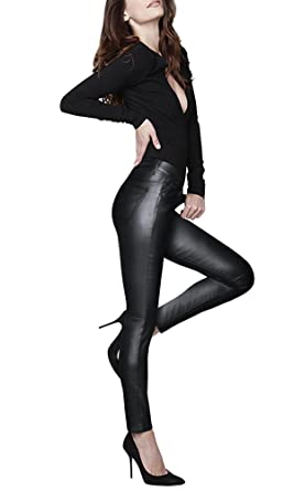 38598a71dcd07 HyBrid & Company Womens Skinny Stretch Fashion Casual Faux Leather Pants  P44798SK Black 1