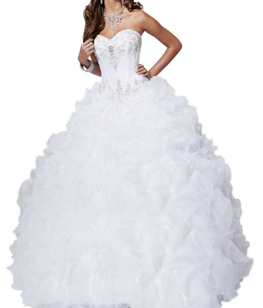 BoShi Women's Sweetheart Beaded Ruffled Bridal Gowns Quinceanera Dresses 16 US White