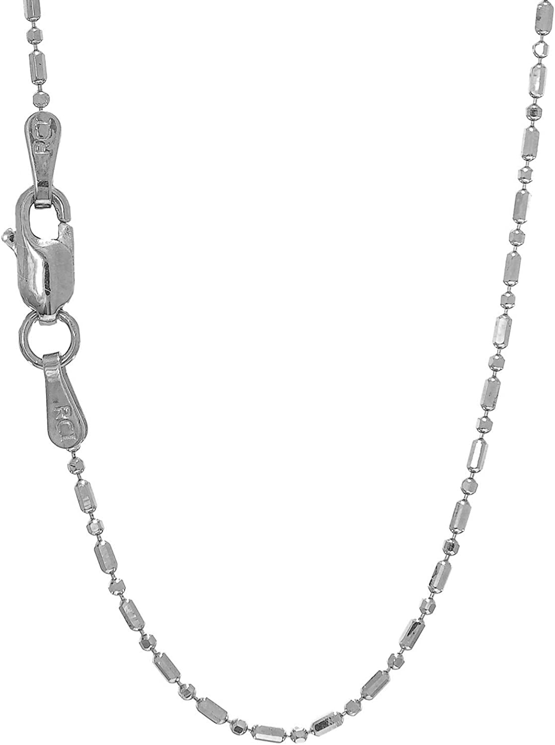 14K White-1mm Solid Bead Chain