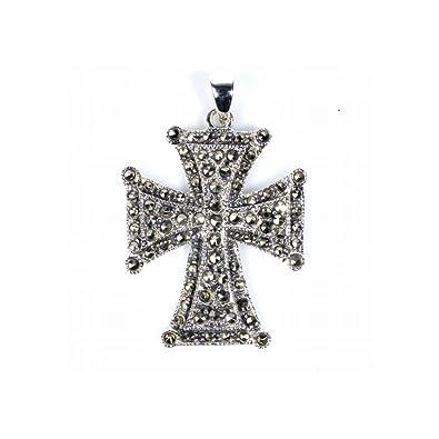 Amazon sterling silver marcasite maltese cross pendant jewelry sterling silver marcasite maltese cross pendant aloadofball Images