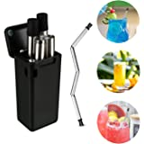 SHLs Multicolor Folding Stainless Steel Drinking Straw | Reusable, Collapsible and Eco-friendly TPE/Food Grade Silicone Straws | Portable with Hard Case & Cleaning Brush (Black)