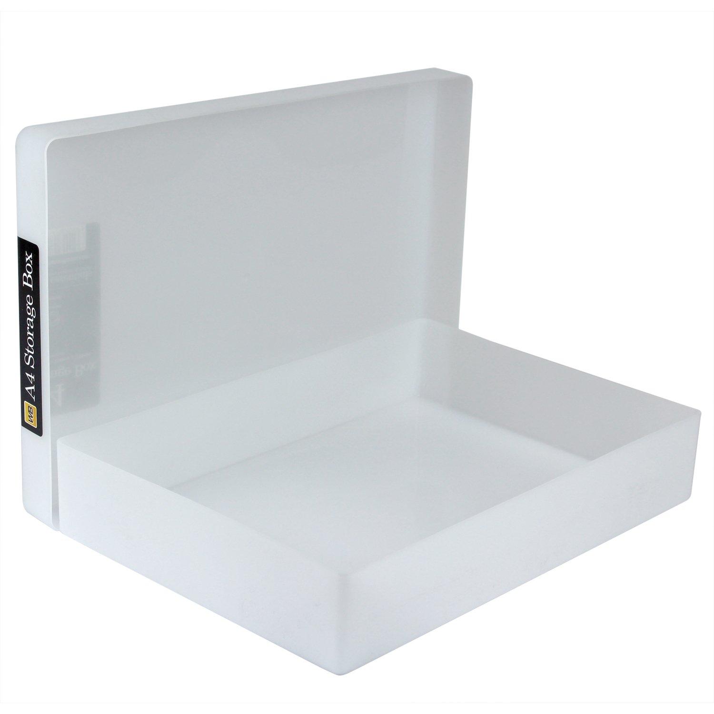 WestonBoxes r/ígida A4 pl/ástico cajas de almacenamiento color blanco Pack de 5