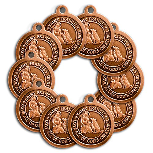 100 Pack of Bronze Saint Francis of Assisi Patron Saint of Pets Collar Medal by Bogati Pets