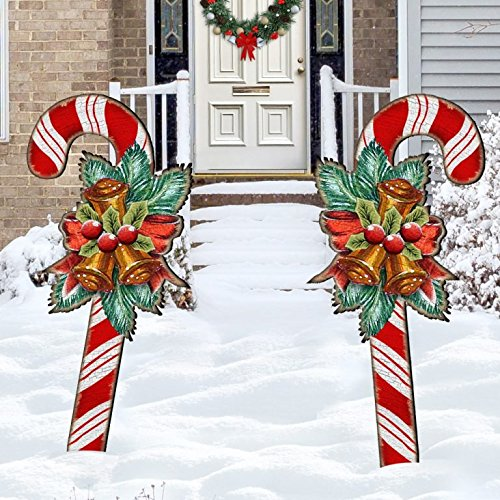 Christmas Candy Cane Rustic Yard Lawn Holiday Wooden Free-Standing Outdoor  Decoration 8151924F - Amazon.com: Christmas Candy Cane Rustic Yard Lawn Holiday Wooden