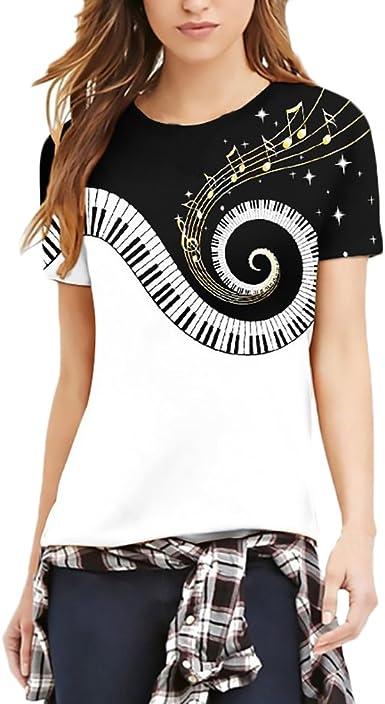 Camisetas De Manga Corta Mujer Verano Notas De Piano Impresión T-Shirt para Mujeres Hombre Unisex Hippies Hippies Joven Moda Casual Cuello Redondo ...