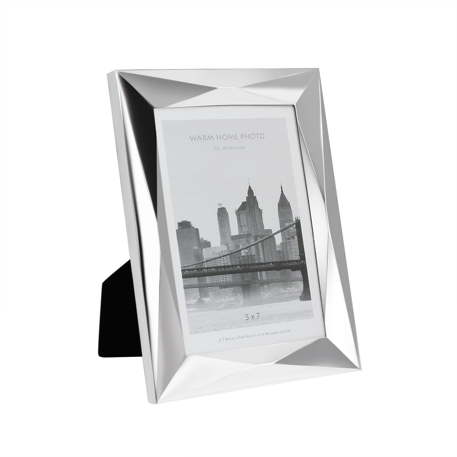 5x7 Photo Frame Freestanding and Wall Mountable Certificate or Picture Frame Portrait & Landscape Made of Electroplating Silver and High Definition Glass with Mat SWEETLF