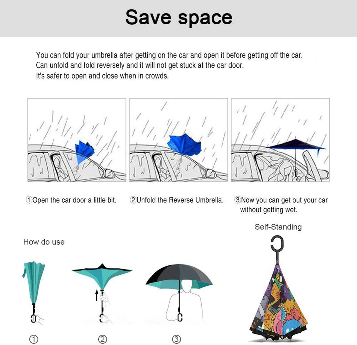 With C-Shaped Handle UV Protection Inverted Folding Umbrellas Windproof And Rainproof Double Folding Inverted Umbrella Teen Titans Car Reverse Umbrella
