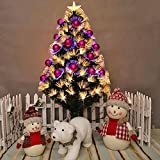 JIN Christmas New Year Fiber Tree Decoration Plum Head Safflower Dumb Ball Glowing Colorful Lights Christmas Tree , 60cm