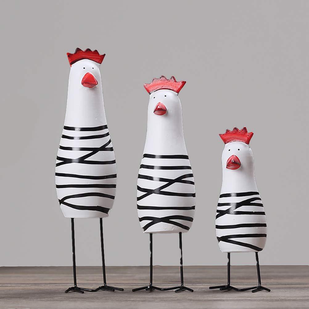 Kappha Animales Decorativos 3PCS Happy Chicken Family Set Decoraci/ón de Pollo de Madera Estatuilla Miniaturas Adornos Regalo Artesan/ías Decorativas para el hogar