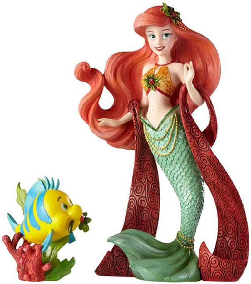 "Enesco Disney Showcase ""The Little Mermaid"" Holiday Ariel and Flounder Stone Resin Figurine Set, Set of 2, Multicolor"