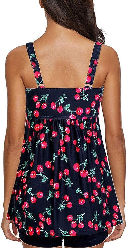 Socluer Damen Tankini Set 2 Piece Push Up Strand Urlaub Strap Druck Bikini Set Badeanzug mit Shorts
