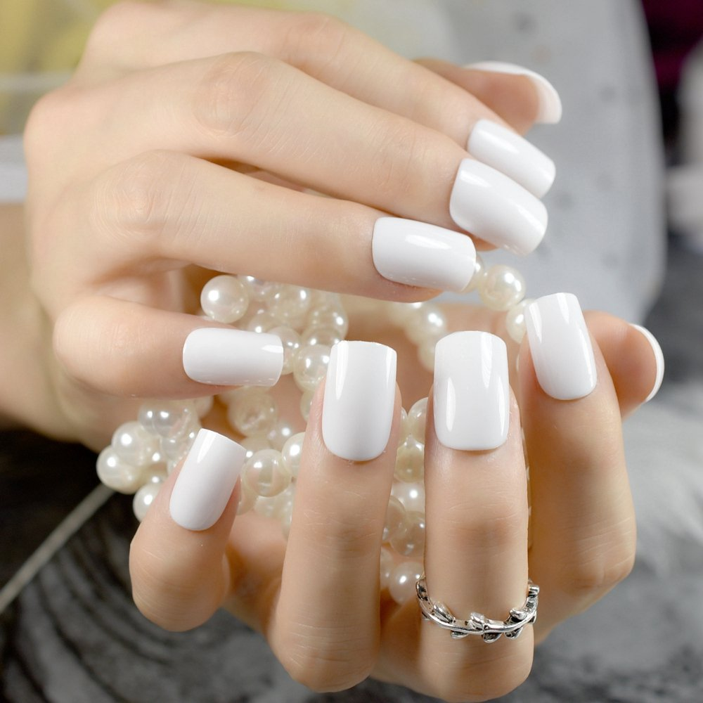 Amazon.com : CoolNail Solid White False Nails Medium Square Fake Nail DIY UV Gel Fake Nail Art Wear Nails Tips Fuax Ongles Finger Art : Beauty