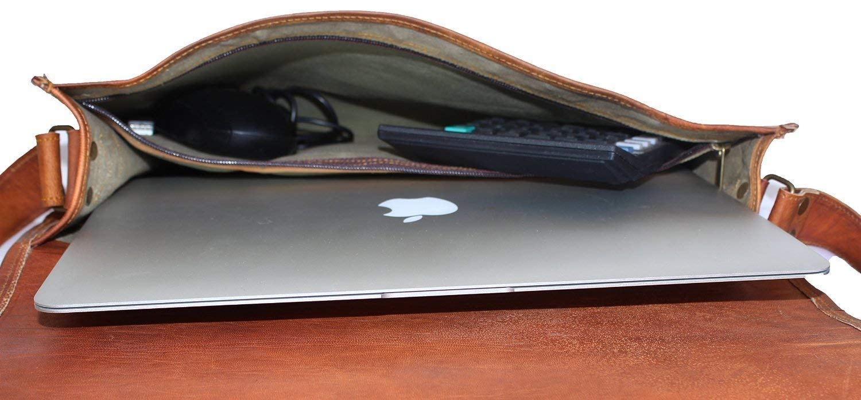 bolso maletín de cuero,mensajero,laptop,bolso bandolera de 15 pulgadas de cuero genuino: Amazon.es: Electrónica