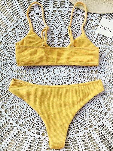gepolsterter Oberteil mit verstellbaren Tr/ägern High Cut Unterteil Badeanzug ZAFUL Damen Zweiteilige Bikini Set