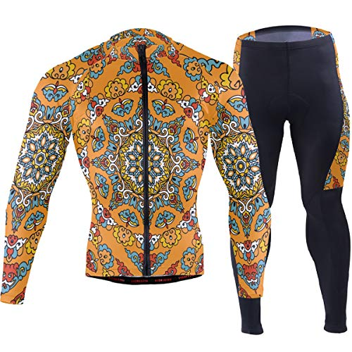 Vintage Texture Indian Arabic Men's Cycling Jersey Set Breathable Quick-Dry MTB Road Bike Luxury Black