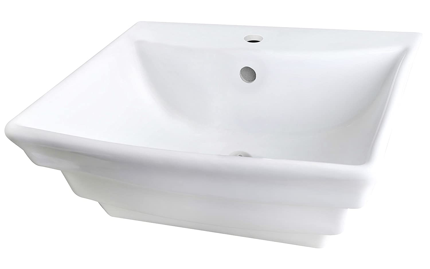 American Imaginations AI-888-689 19.75-in D Wall Mount Rectangle Vessel In White Color For Single Hole Faucet W x 17-in
