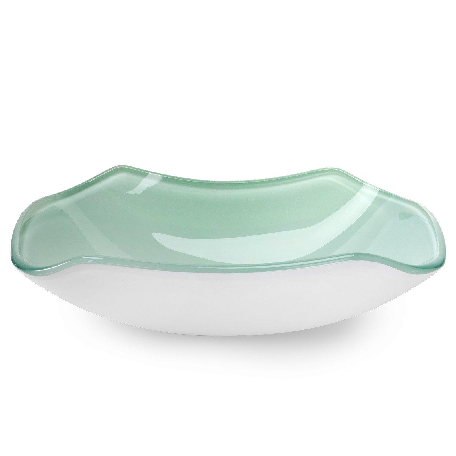 Miligoré Modern Glass Vessel Sink - Above Counter Bathroom Vanity Basin Bowl - Scalloped Clear & White