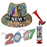 New Years Eve Decorations - Happy New Year Fedora Multi Colored Design Sequin Hat - 2017 Glasses - Air Horn - Party Decor Accessory