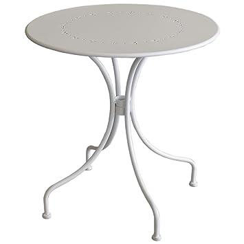 Amazon.de: Gartentisch rund Ø70x71cm Metall Weiss Bistrotisch ...