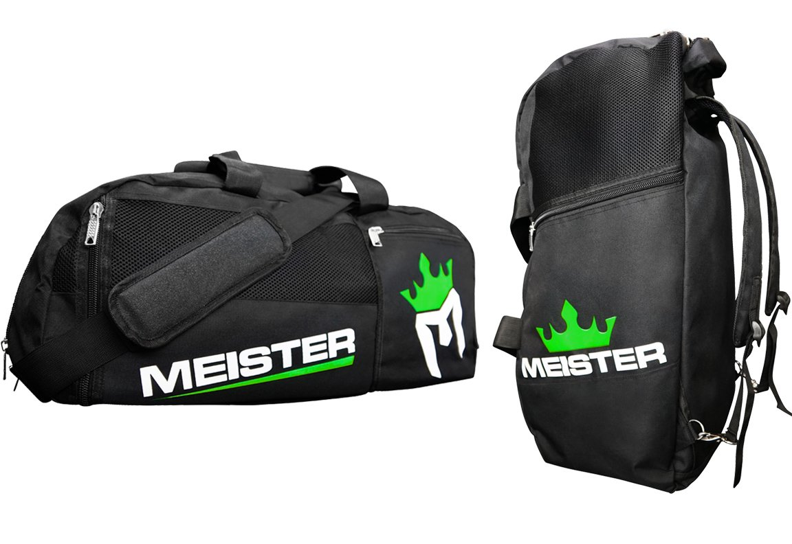 Meister Vented Convertible Duffel/Backpack Gym Bag - Ideal Carry-On - Black/Electric Green