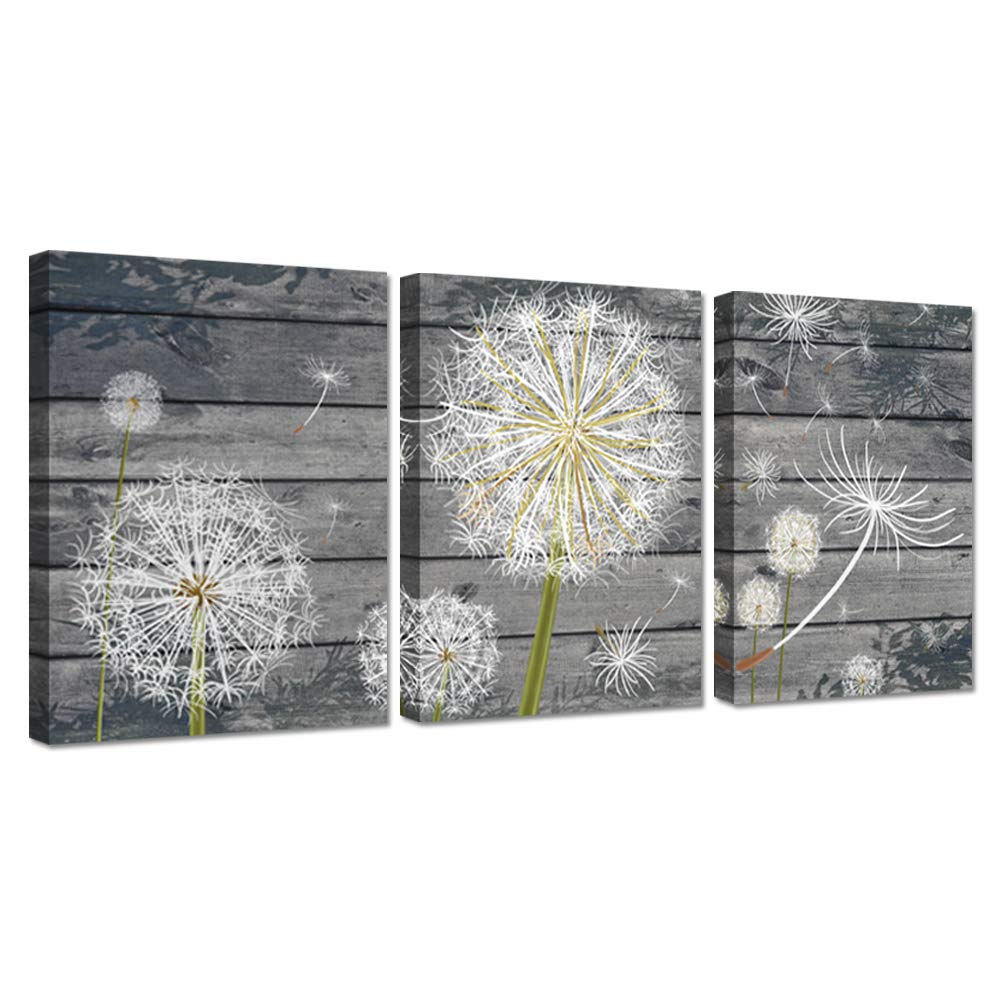 Zingarts 3 panel canvas wall art dandelion flower on grey vintage wood background neutral floral picture stretched and framed for rustic home decor ready to