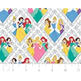 Disney Princess Character Diamonds in White Fabric Sold by the Yard