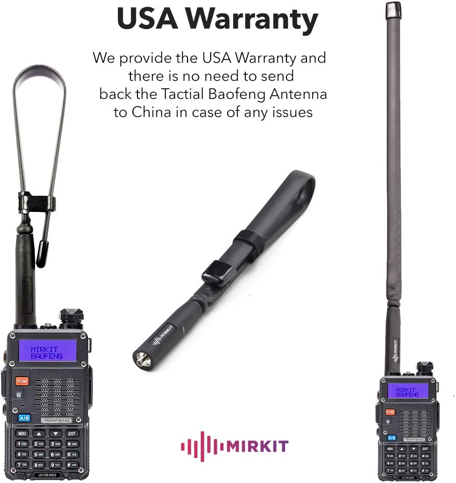 Mirkit Foldable Tactical Antenna 18.7 inch with SMA-Female Connector, Dual Band VHF/UHF (136-174MHz, 400-520MHz) for: UV-5R, UV-82, BF-F8HP, UV-5R V2+ Plus, BF-F9 V2+ Two Way Radios: Home Audio & Theater