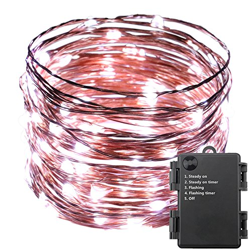 ER CHEN(TM) Indoor and Outdoor Waterproof Battery Operated 100 LED String Lights on 33 Ft Long Ultra Thin Copper String Wire with Timer (White)