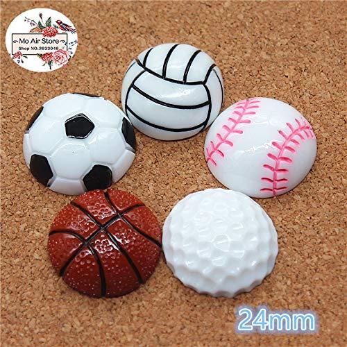 (ZAMTAC 10pcs Resin Football Basketball Sports Flat Back Cabochon Art Supply Decoration Charm Craft DIY 24mm - (Color: vollyball 10pcs))