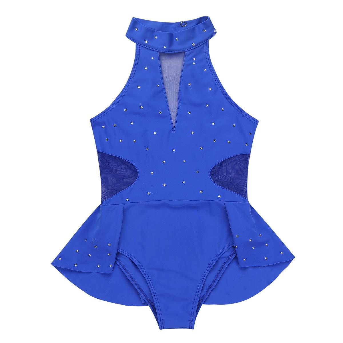 YiZYiF Body da Danza Bambina con Volant Strass Glitter Vestito da Balletto Pattinaggio Artistico Costume da Ballo Bodysuit Serbatoio per Ginnastica Dancewear Allenamento