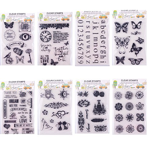 Clear Stamps for Cards Making 8 Sheets Scrapbook Rubber Silicone for DIY Scrapbooking Seal Photo Album Wish Decorative Butterfly Love Heart Words (8 Sheets) by Eswala