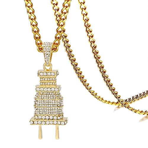 b337e488e95a7 Xusamss Hip Hop Stainless Steel Plug Tag Pendant Crystal Necklace,24inches  Chain