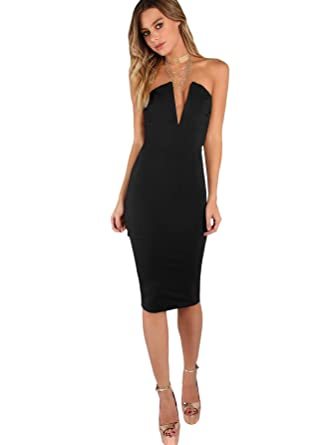 4993d5c3e8 Floerns Women s Sexy V Neck Cocktail Party Bodycon Tube Midi Dress Black XS