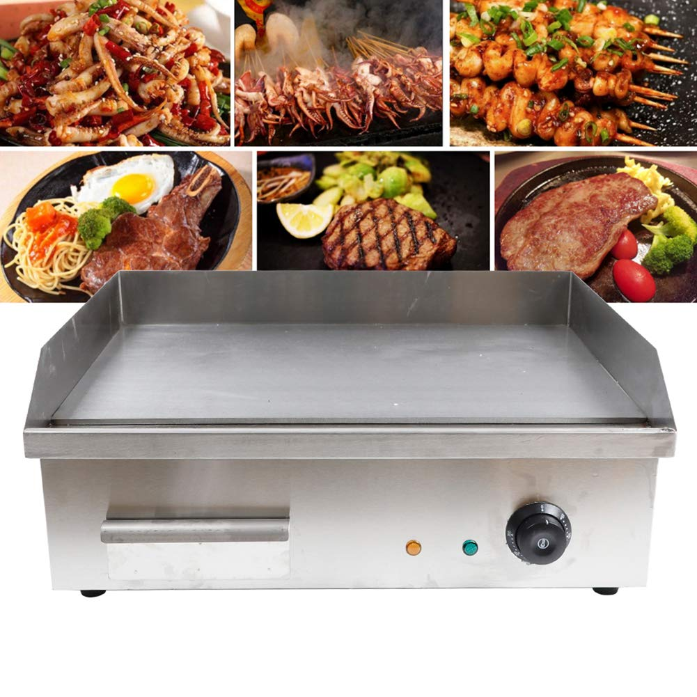 TBvechi Teppanyaki Electric Griddle Cooktop Countertop Commercial Flat Top Grill Griddles BBQ Plate Grill Thermostatic Control by TBvechi
