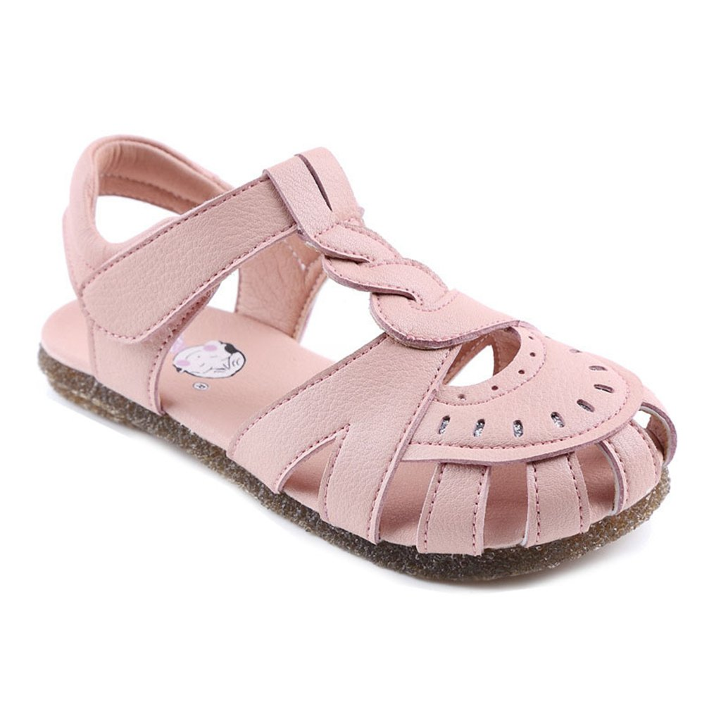 Girl's Summer Closed-Toe Sandals Bowkont Anti-Slip Adjustable Strap Outdoor Sport Casual Flat Shoes