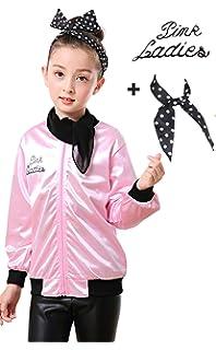 Amazon.com: Likero 1950s Pink Satin Zip Jacket Coat with ...