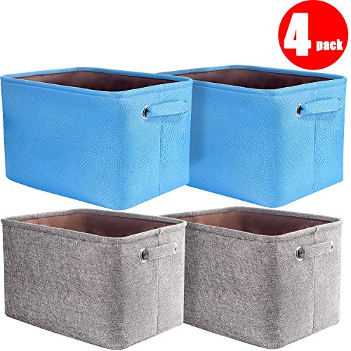 "[4-Pack] Senbowe Collapsible Storage Cubes Bin Basket, Foldable Canvas Fabric Tweed Storage Cube Bin Organizer Containers Set with Handles - Grey/Blue For Home Office Closet (14.6 x 10.6 x9.2"") (Canvas Organizer)"