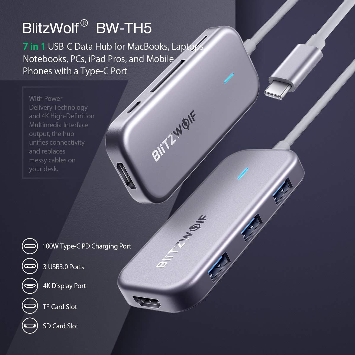 100W Type C PD Chromebook BlitzWolf 7 Ports Multifunctional Type C Adapter with 4K HDMI 3 USB 3.0 Ports More USB C Devices Huawei MateBook SD//TF Card Reader for MacBook Pro 2018//2017 USB C Hub