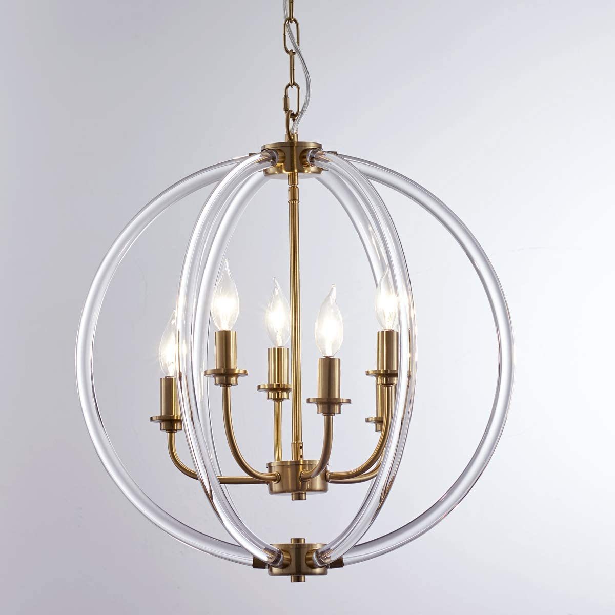 "Reaketon Clear Globe Pendant Light-6 Light D19.7"" LED Modern Chandelier Ceiling Light Fixture Dining Room Bedroom Foyer Entryway Required CH2012-6H"
