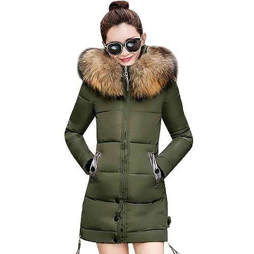 Ranboo mujer chaqueta con capucha mediano largo abrigo cremallera abajo algodón