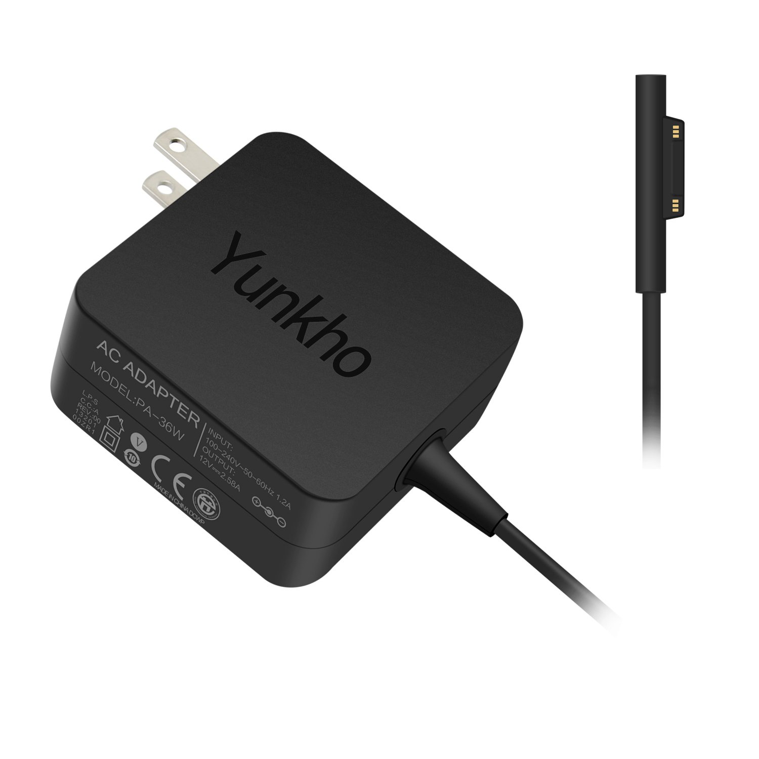 Yunkho Surface Power Supply Adapter, 36W 12V 2.58A Charger for Microsoft Surface Pro 3 /Pro 4 i5 i7 Tablet with 5.4Ft Power Cord