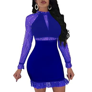 852a362d00eba Dreamparis Women s Sexy Mesh Beaded Patchwork Bodycon Mini Dress Long Sleeve  Stand Collar Small Royal Blue
