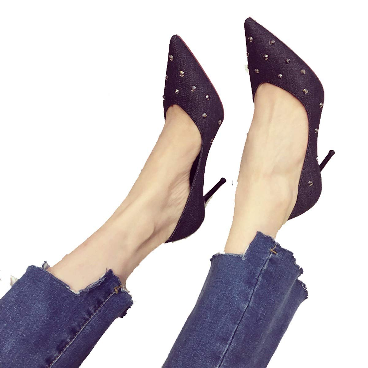 GTVERNH Frauen Schuhe/9Cm High Heels Schuhe Herbst Sexy Nieten Nachts Frauen Schuhe Flach Scharf Darauf Mit Prinzessin Einzigen Schuh.